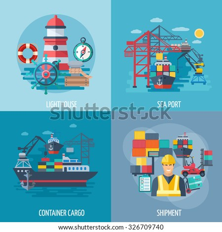 Sea port design concept set with container cargo and shipment flat icons isolated vector illustration - stock vector