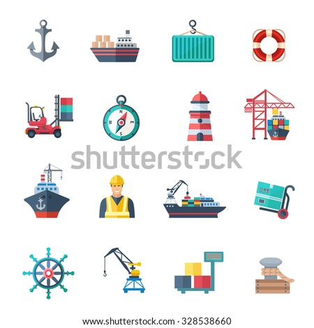 Sea port icons flat set with marine shipping isolated vector illustration - stock vector