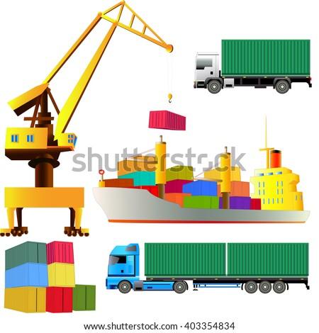 Sea port set, harbor crane, cargo ship with containers on board, trucks. Isolated from white. Vector illustration. All objects are on separate layers.  - stock vector