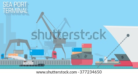 sea port terminal. unloading cargo ship with containers. vector illustration for business and industrial vision, web design, background or wallpaper - stock vector