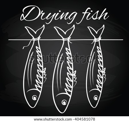 Sea roach. Stockfish. Drying fish on the chalkboard background - stock vector