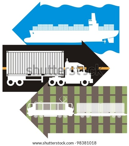 Sea, road & rail freight / logistics / delivery arrow - supply chain color illustration - stock vector