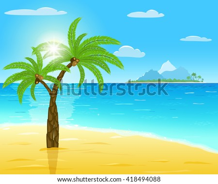 sea, sand, green palms, sun with rays on blue sky, island on horizon, vector illustration - stock vector