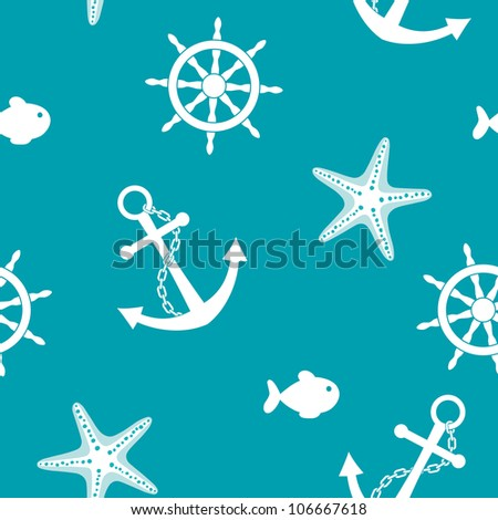 Sea seamless background with anchor, wheel, fish, starfish - stock vector