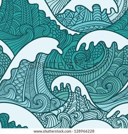 Sea seamless pattern - stock vector