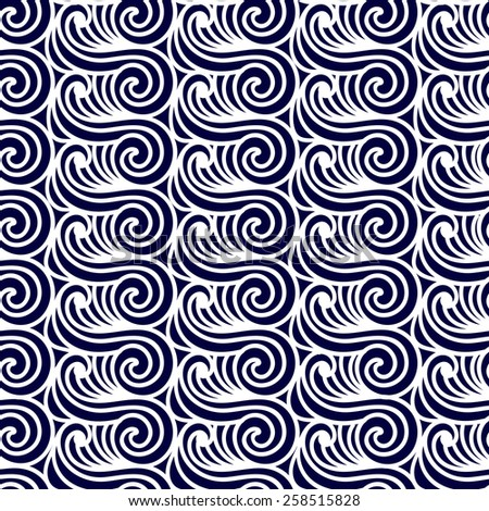 Sea Seamless Pattern. Abstract asian waves vector background.