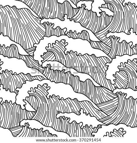 Sea seamless pattern with abstract  hand drawn waves. Background for textile printing and wrapping paper. - stock vector