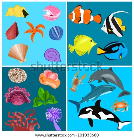 Sea set - stock vector