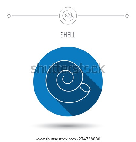 Sea shell icon. Spiral seashell sign. Mollusk shell symbol. Blue flat circle button. Linear icon with shadow. Vector - stock vector