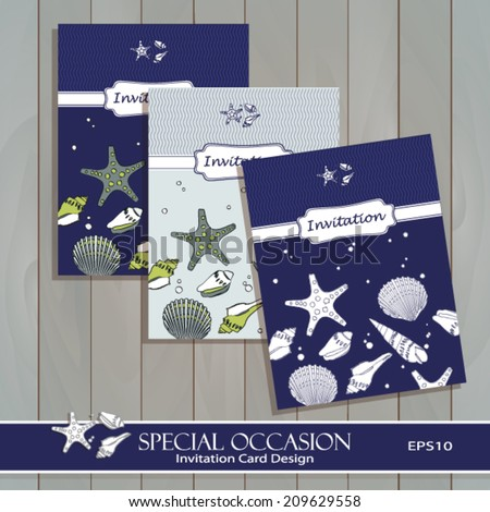 Sea Shell Invitation Card set design. Greeting card template for Special Occasions & Life events. Endless horizontal pattern is masked. Vector. Easy to edit. Use for invitations and announcements.  - stock vector