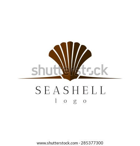 Sea shell title logo with text - stock vector