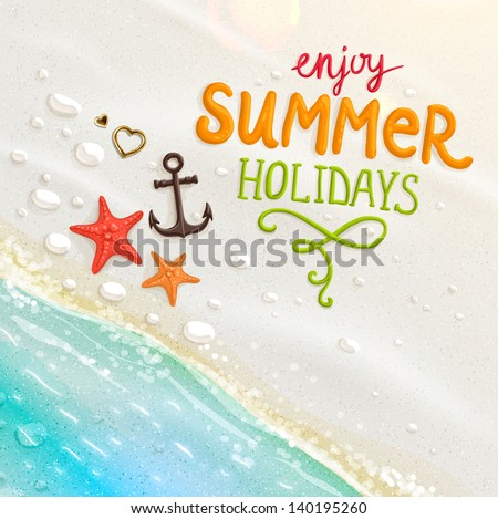 Sea shells, anchor, hearts and starfish on the beach. Sand as background for summer design. Calligraphic design element. Vector illustration. Summer holidays. - stock vector