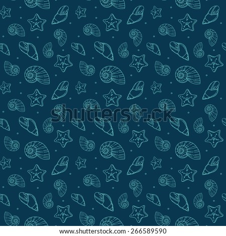 sea shells pattern - stock vector