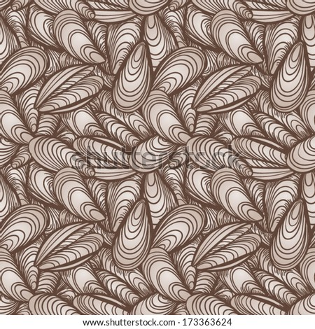 Sea Shells seamless background. Seamless vector illustration