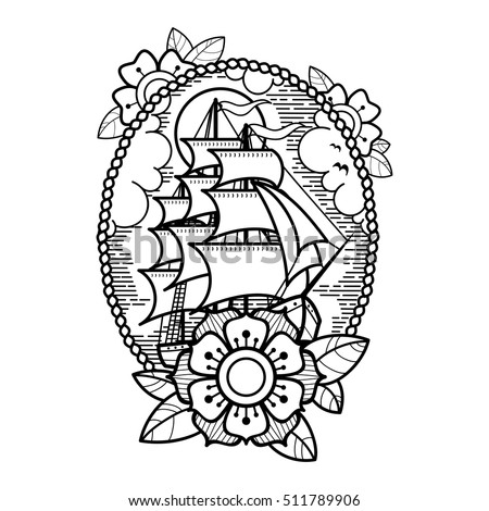 sea ship flowers clouds rope old stock vector 511789906 shutterstock. Black Bedroom Furniture Sets. Home Design Ideas