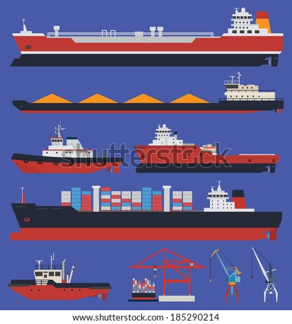Sea ships flat icons. Cargo ships and tug boats. Delivery and shipping. - stock vector