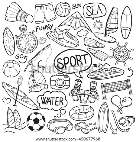 Sea Sport Beach Summer Water Sea Doodle Icons Hand Made