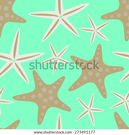 Sea stars on turquoise background. Starfish seamless pattern. Vector illustration