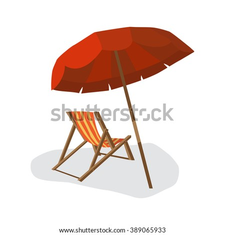 Sea summer beach, sun umbrellas, beach beds isolated with shadow on white background. Umbrella and deskchair on a beach in summer day vacation. Vector flat illustration