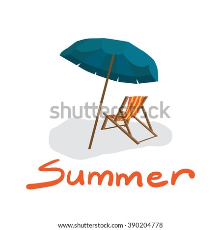 Sea summer beach, sun umbrellas, beach beds isolated with shadow on white background. Umbrella and deskchair on a beach in summer day vacation. Vector flat illustration - stock vector