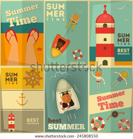 Sea Summer Holidays Posters Set. Vector Illustration. - stock vector