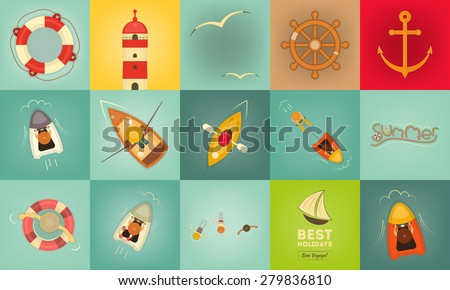 Sea Summer Icons. Layered file. Vector Illustration. - stock vector