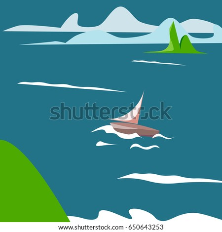 Sea summer landscape with the ship or the yacht in the sea. Vector illustration