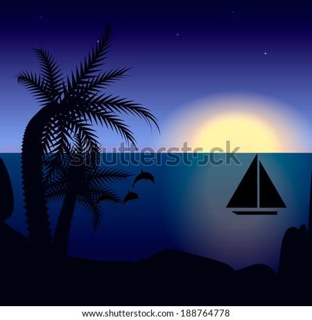 Sea sunset scene, vector illustration - stock vector