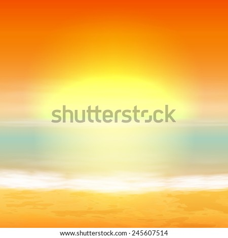 Sea sunset. Tropical background. EPS10 vector. - stock vector