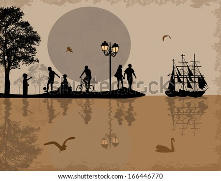 Sea sunset with boat, island and people silhouettes, vector illustration - stock vector