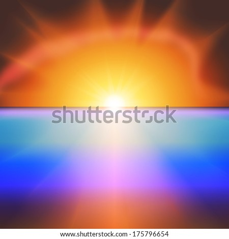 Sea sunset with bright sun background vector - stock vector