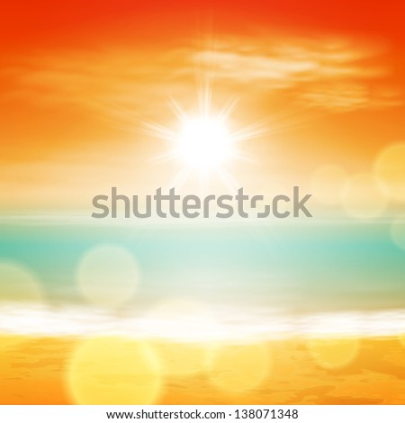Sea sunset with bright sun, light on lens. EPS10 vector. - stock vector