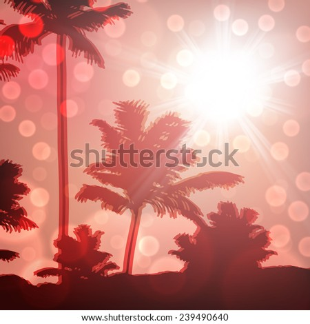 Sea sunset with island and palm trees. EPS10 vector. - stock vector
