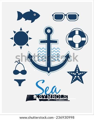 Sea Symbols. Set of marine icons - stock vector