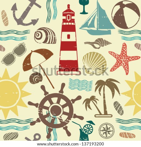Sea themed seamless pattern 1 - stock vector