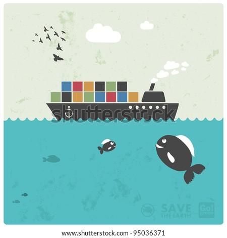 sea transport - cargo - creative illustration in modern style - stock vector