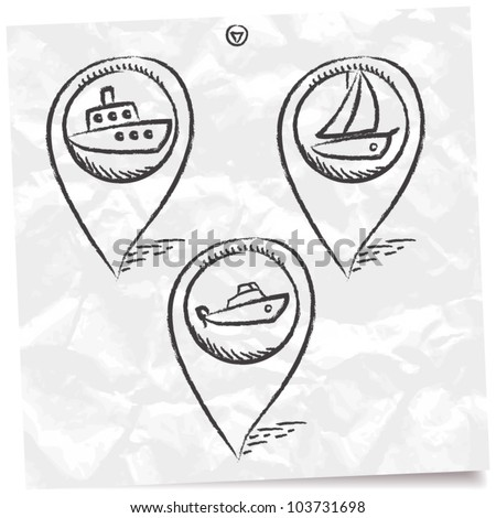 sea transport GPS and MAP icon set - stock vector
