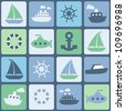 Sea transport. Seamless vector in retro colors - stock vector