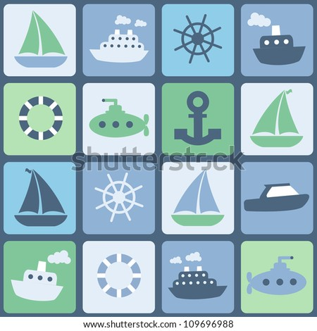 Sea transport. Seamless vector in retro colors - stock vector
