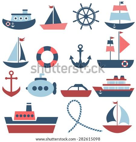 sea transport set - stock vector