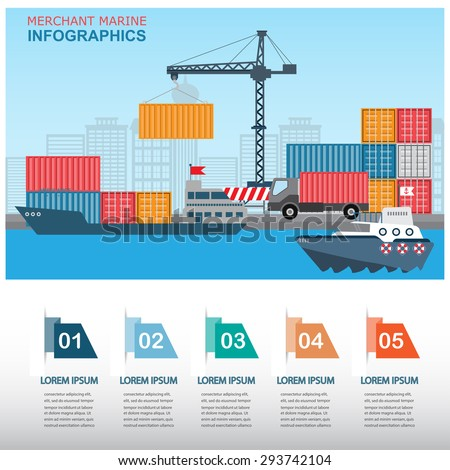 sea transportation and logistic infographics. there are harbour and containers with step option banner, Can be used for business data, web design, brochure template, background. vector illustration. - stock vector