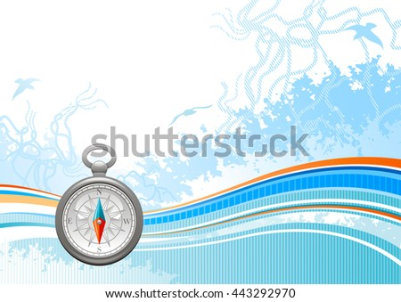 Sea travel background pattern with net, foam, and seagulls and vintage  compass rose icon. Copy space for your text. For tourism agency, yacht club and other summer vacation designs - stock vector