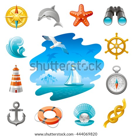 Sea travel icon set in blue color with vacation summer beach symbols on white background. Concept icon set contains vintage compass rose, wheel, starfish, binoculars, lighthouse, anchor, sailing yacht - stock vector
