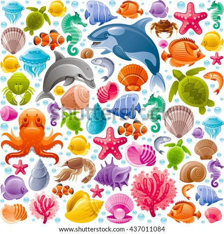 Sea travel seamless background with underwater diving animals. Dolphin, killer whale, starfish, coral, pearl, butterfly fish, tropical shells, sea horse, octopus, sea turtle and more marine icons - stock vector