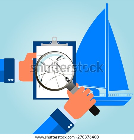sea travel. ship on their destination routes. Top view. Vector Illustration - stock vector
