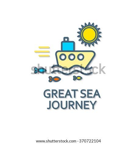 Sea Traveling. Cruise Design. Vector illustration - stock vector