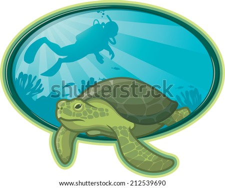 Sea Turtle and Diver. Illustration of a Sea Turtle swimming near a coral reef and a scuba diver in the background - stock vector