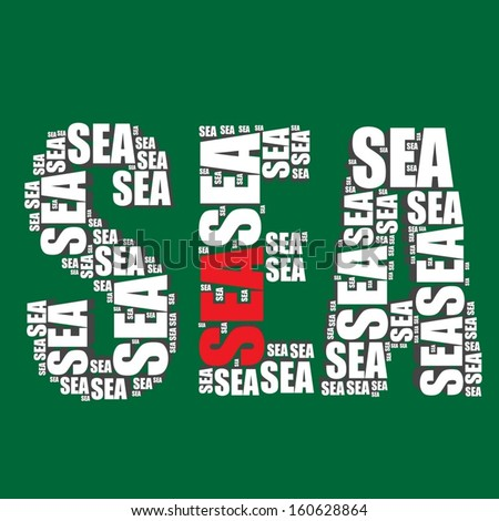 sea typography 3d text word art vector illustration sea word cloud - stock vector