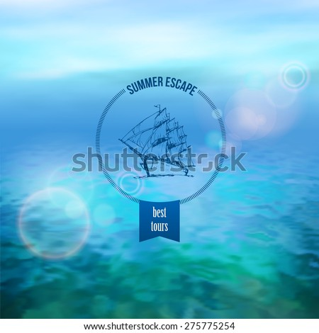 Sea vector background calm and clear. Marine panoramic landscape - stock vector