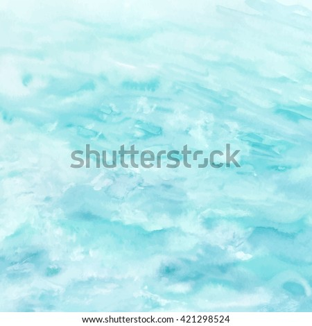 Sea water texture, abstract watercolor background, vector illustration